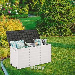 Outdoor Garden Storage Plastic Box Chest Tools Cushions Toys Lockable Seat 260L