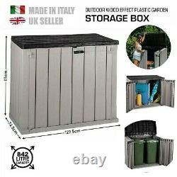 Outdoor Garden Storage Wheelie Bin Shed Box Store 2 Door 842L Rubbish Chest