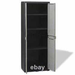 Outdoor Garden Utility Cabinet Plastic Storage Shelves Unit Tool Box Cupboard