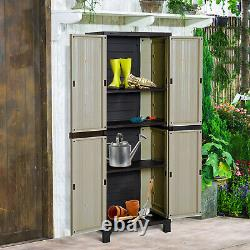 Outsunny Garden Shed Double-door Patio Plastic Storage Cabinet Tool Box Shelves
