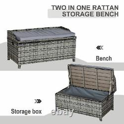 Outsunny Patio Rattan Wicker Storage Basket Box Bench Seat Furniture with Cushion