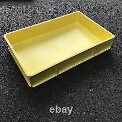 PLASTIC STACKING CONTAINERS 670x430x120mm YELLOW PALLET OF 50 USED BOXES
