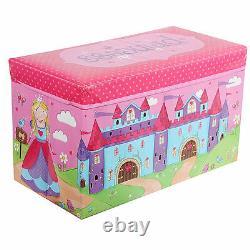 PRINCESS KIDS STORAGE TOYS BOX BOOKS BENCH CHILDREN'S With LID FOLDING STOOL SEAT