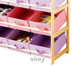 Pink & Purple 3 Tier Toy Wood Storage Unit 9 Canvas Boxes Drawers Childrens Tidy