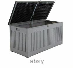 Plastic Box With Lid Small Shed Outdoor Storage Box 270L Grey/Black Brand New