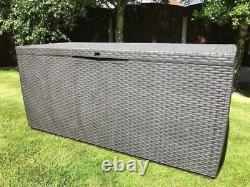 Plastic Garden Storage Box Waterproof Rattan Cushion Chest Deck Patio Outdoor