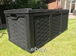 Plastic Garden Storage Box XXL Size 634 Litres Waterproof Sit On Lid Piston Lift