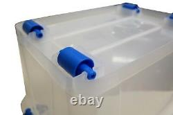 Plastic Storage Box Clear Boxes with Lids Clip Locking Large Store Home Office
