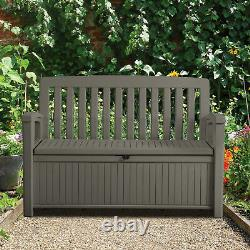 Plastic Taupe Garden Storage Bench Box Fixings Included Assembly Required Wooden