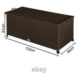 Poly Rattan Garden Storage Box Brown Patio Cushion Deck Chest Terrace Balcony
