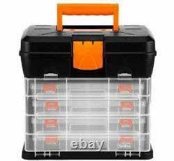QUALITY Utility DIY Storage Tool Box Carry Case 4 Drawers & Organiser UK