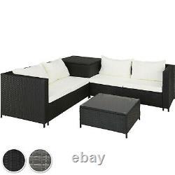 Rattan Seating Set 6PC 2 Sofas 1 Table Glass Top 1 Storage Box Cushions Garden