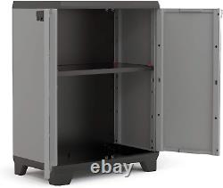 Small Deck Storage Outdoor Utility Box Plastic Shelves Unit Cupboard Garden Shed