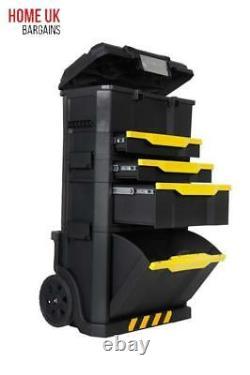 Stanley Tool Box Mobile Workshop Work Trolley On Wheels Chest Garage Storage Diy