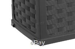 Starplast Garden Rattan Style Plastic Storage Chest Shed Box Sit-On Lid Black
