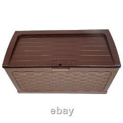 Starplast Garden Rattan Style Plastic Storage Chest Shed Box Sit-On Lid Mocha