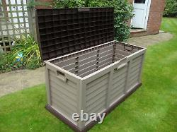 Starplast XL Plastic Garden Storage Box Brown And Mocca Chest Waterproof Shed