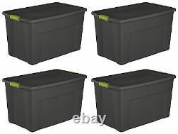 Sterilite 19453V04 35 Gallon Storage Tote Box withLatching Container Lid (4 Pack)