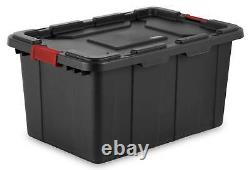 Sterilite 27-Gallon Durable Industrial Storage Tote, Black (4 Pack) 14669004