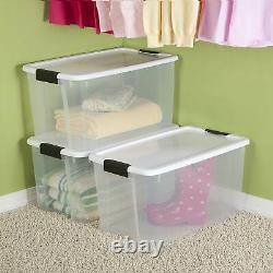 Sterilite 70 Quart Ultra Latch Storage Box with White Lid & Clear Base (8 Pack)