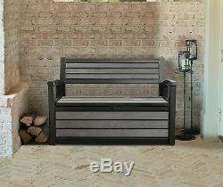 Storage Box Garden Bench Plastic Grey Waterproof Lockable Outdoor Box Patio