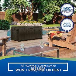 Suncast DBW7300 73 Gallon Resin Wicker Outdoor Patio Storage Deck Box, Mocha