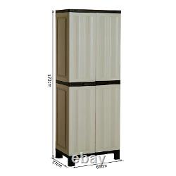 Tall Garden Storage Cupboard Large Outdoor Utility Cabinet Waterproof Plastic