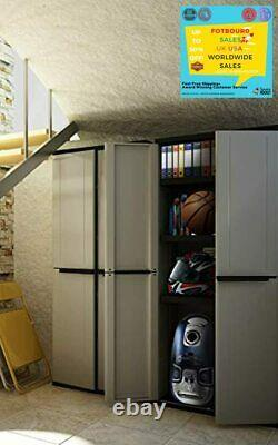Tall Plastic Broom Cupboard Shelves Garden Outdoor Garage Storage Tool Shed Box