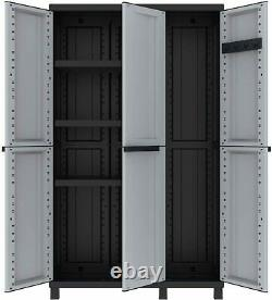 Tall Plastic Broom Cupboard Shelves Outdoor Garden Storage High Cabinet Shed Box