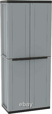 Tall Plastic Cupboard Storage Garden 4 Shelves Utility Cabinet With 2 Doors -NEW