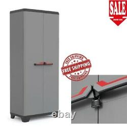 Tall Plastic Cupboard Storage Outdoor Garden Broom Shelves Utility Cabinet Box