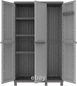 Tall Plastic Ratan Cupboard Shelves Outdoor Garden Storage High Cabinet Shed Box