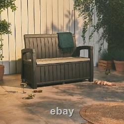 VonHaus Garden Storage Bench Outdoor Garden Storage Box All Weather Plastic