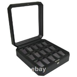 WOLF Windsor 15 Piece Watch Box Storage Case (Black) 4585029 Free US Shipping