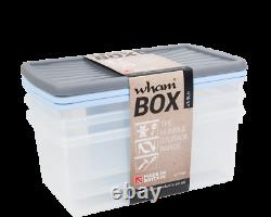 Wham 9l Litre Shoe Box Storage Boxes Containers X3 Strong Clear With Colour Lids
