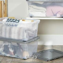 Wham Storage Box With Wheels And Folding LID 45l Clear Base Grey LID