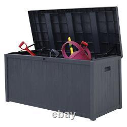 XLARGE Plastic Storage Box Bench Outdoor Garden Cushion Chest Utility Shed Grey