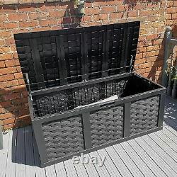 XXL Rattan-Look Garden Storage Box Chest Outdoor Cushion Trunk 634L Anthracite